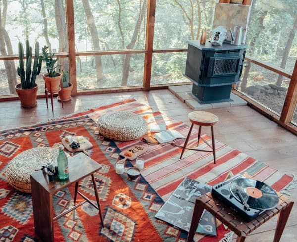 aztec rug woodstove cactuses and windows. Black Bedroom Furniture Sets. Home Design Ideas