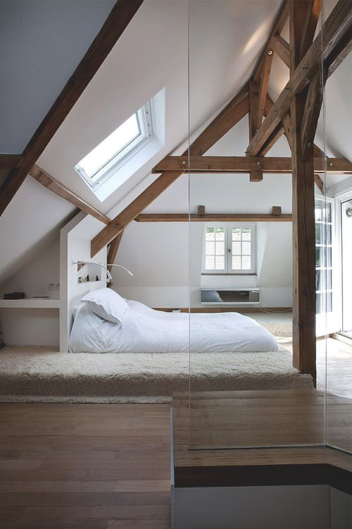 Rustic Wood Beams Interior Bedroom