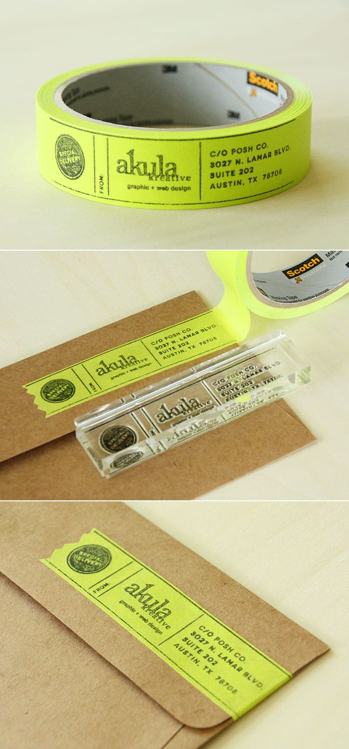 diy custom masking tape address labels. Black Bedroom Furniture Sets. Home Design Ideas