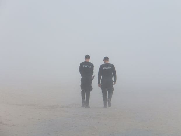 men in fog