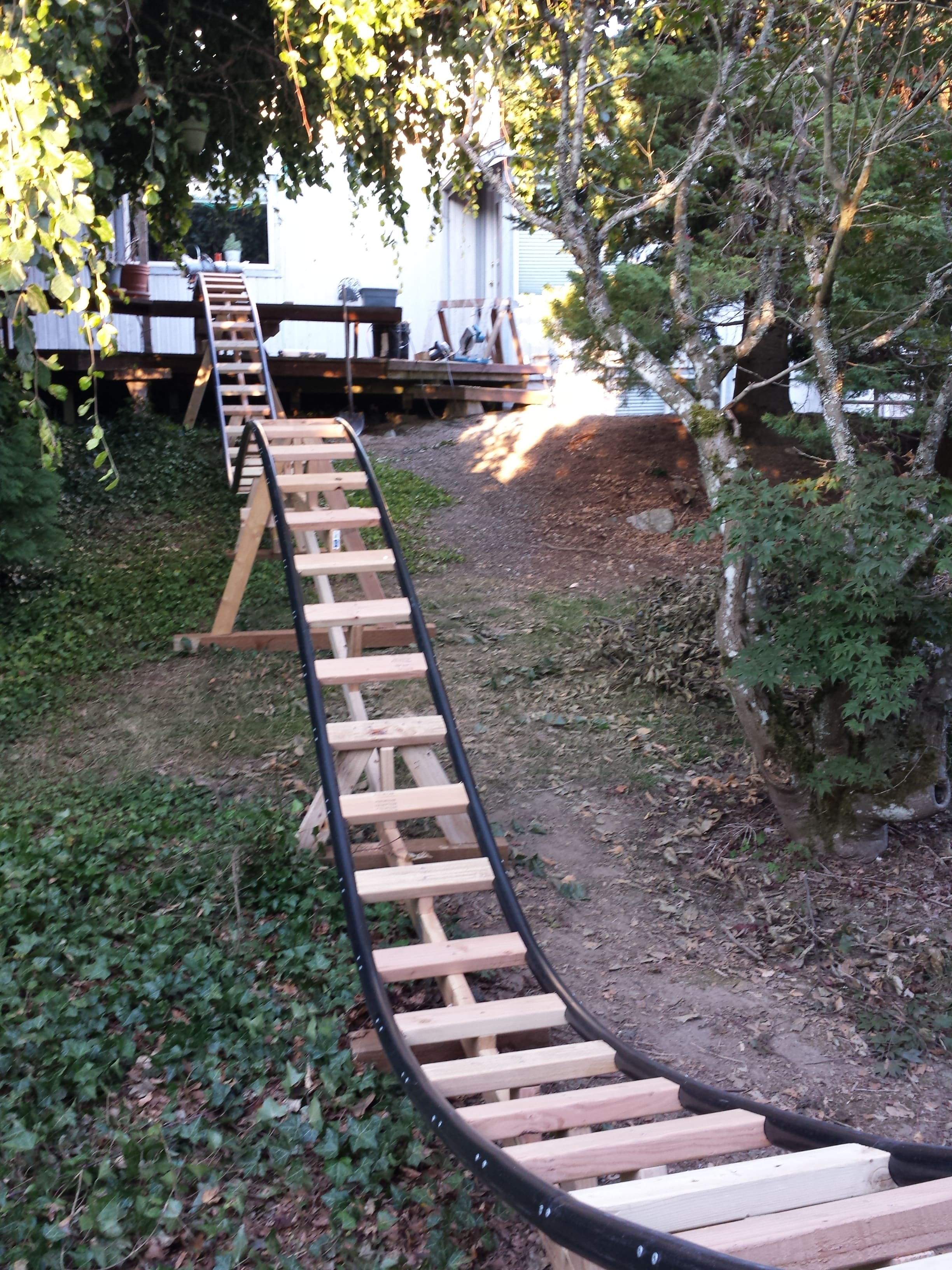 Backyard Roller Coaster Plans :  Engineer Builds a Backyard Roller Coaster for His Grandchildren