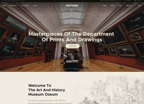 Ozeum Art Gallery and museum WordPress theme min
